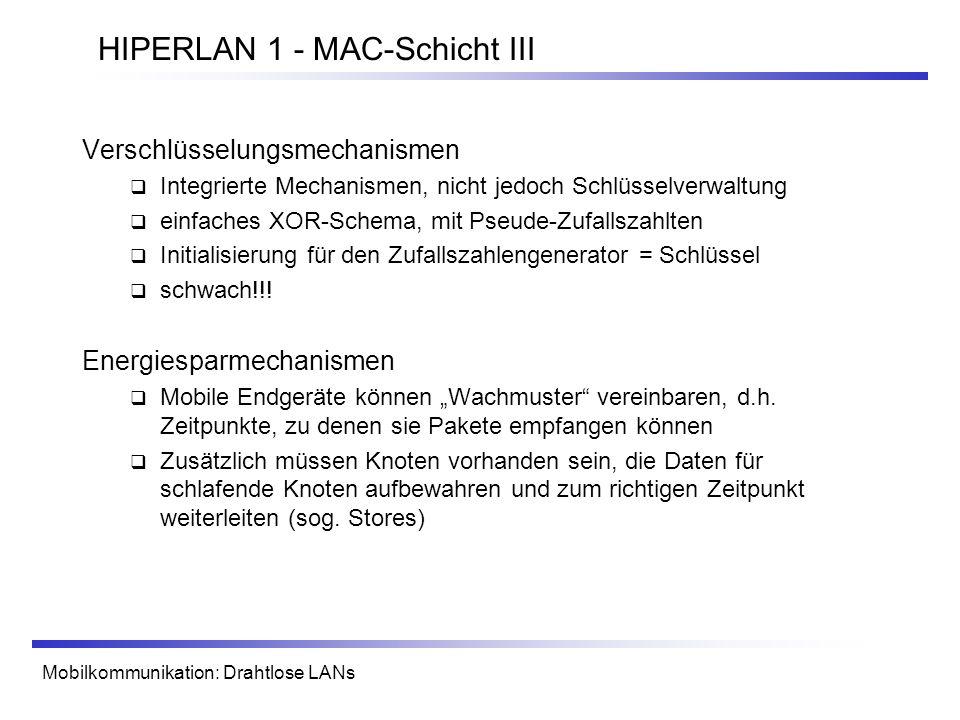 HIPERLAN 1 - MAC-Schicht III