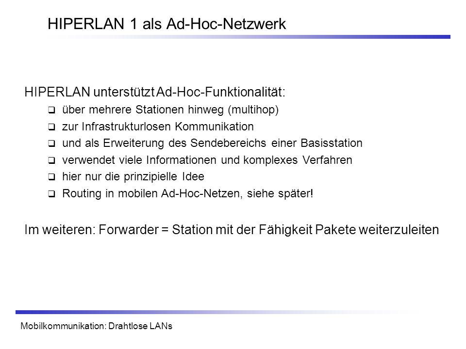 HIPERLAN 1 als Ad-Hoc-Netzwerk