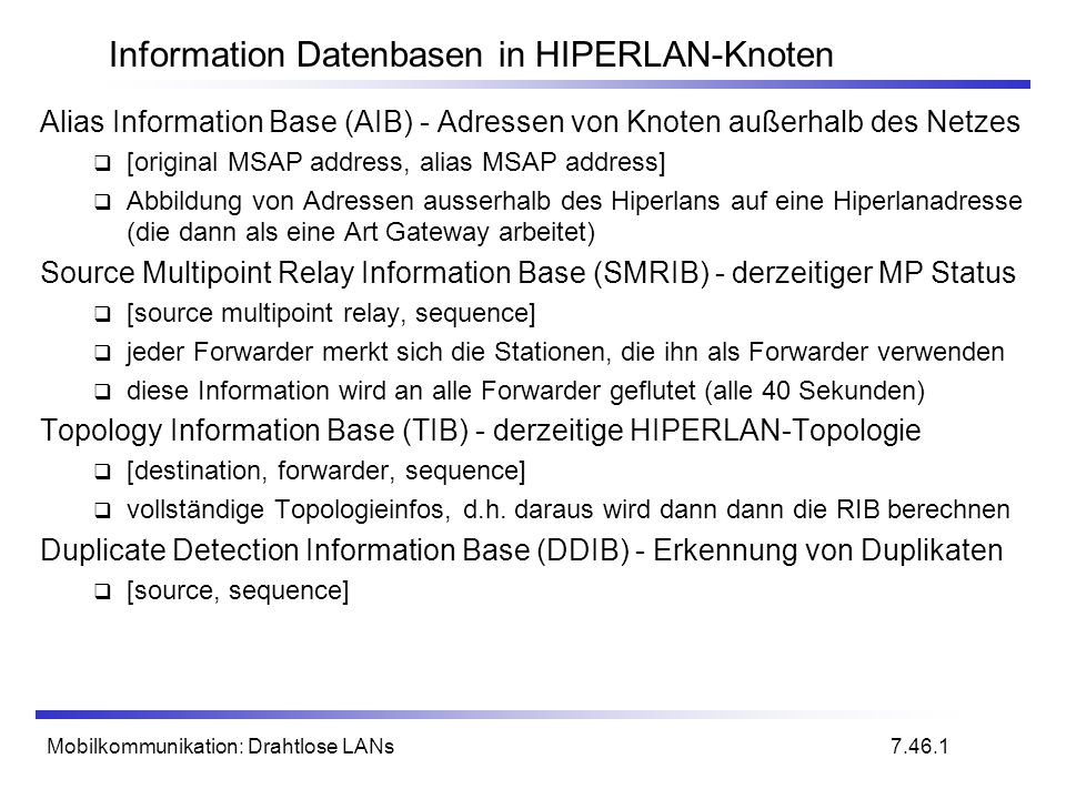 Information Datenbasen in HIPERLAN-Knoten