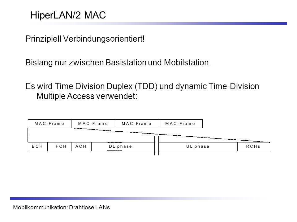 HiperLAN/2 MAC Prinzipiell Verbindungsorientiert!