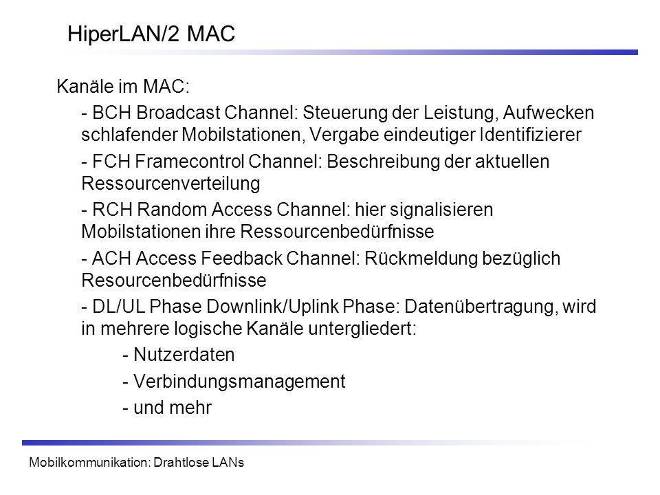 HiperLAN/2 MAC Kanäle im MAC: