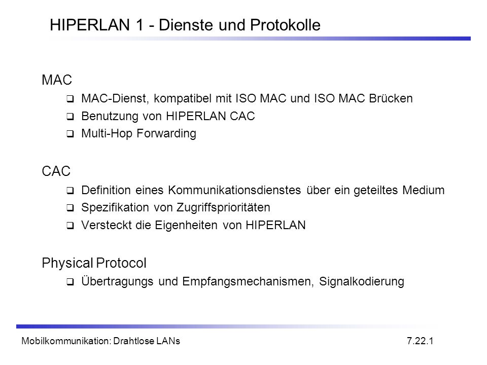 HIPERLAN 1 - Dienste und Protokolle