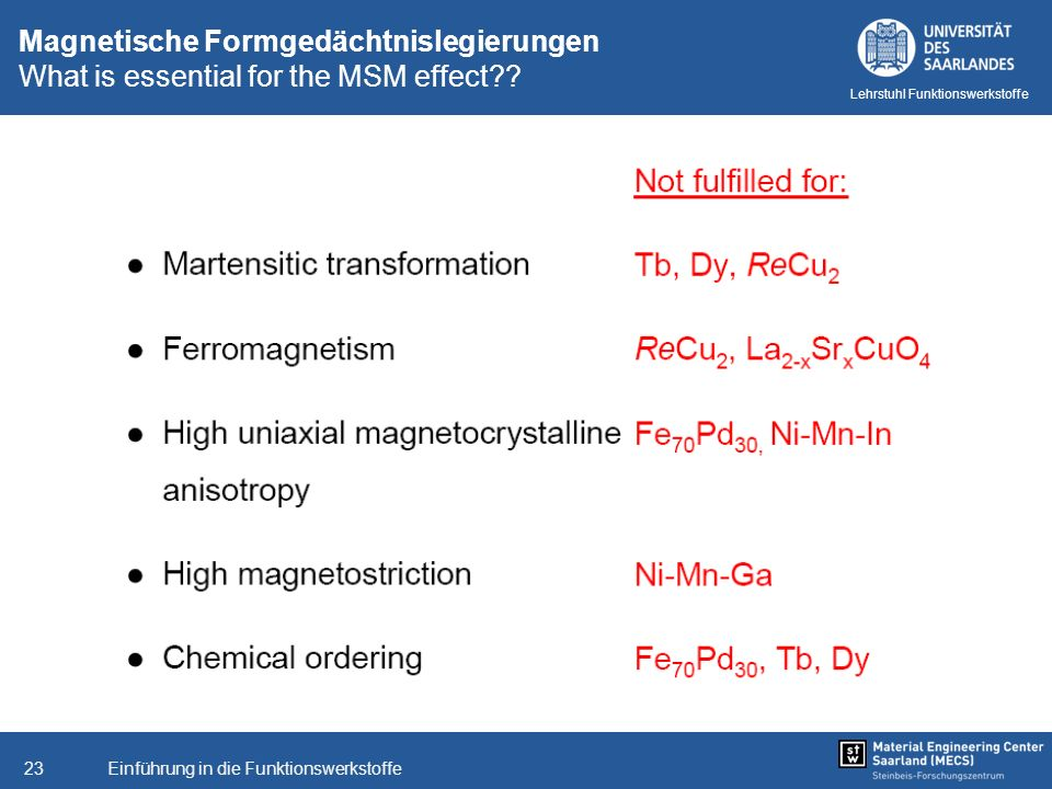 Magnetische Formgedächtnislegierungen What is essential for the MSM effect