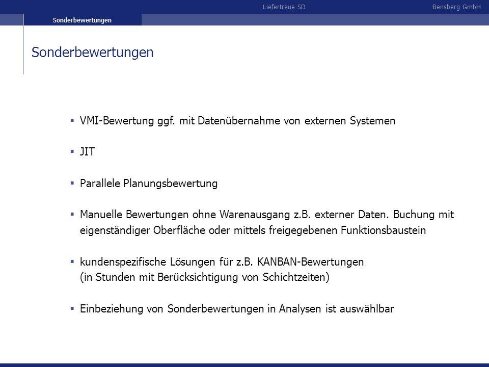 Sonderbewertungen Sonderbewertungen. VMI-Bewertung ggf. mit Datenübernahme von externen Systemen. JIT.