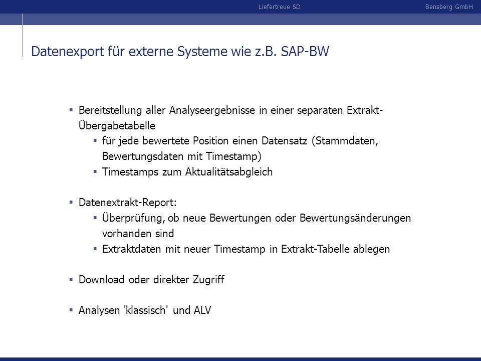 Datenexport für externe Systeme wie z.B. SAP-BW