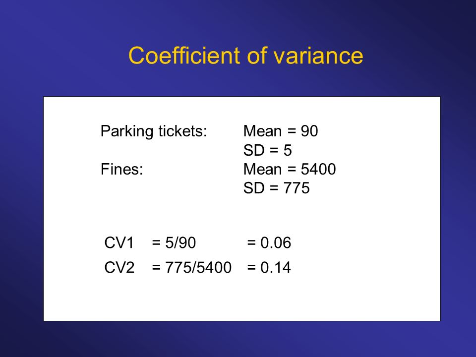 Coefficient of variance