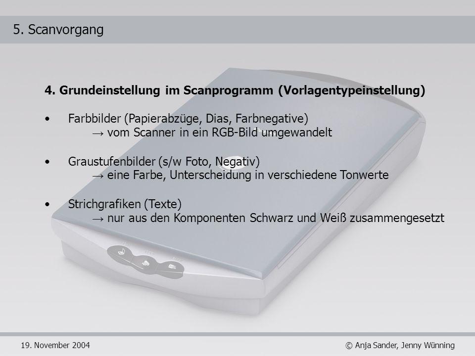 5. Scanvorgang 4. Grundeinstellung im Scanprogramm (Vorlagentypeinstellung) Farbbilder (Papierabzüge, Dias, Farbnegative)