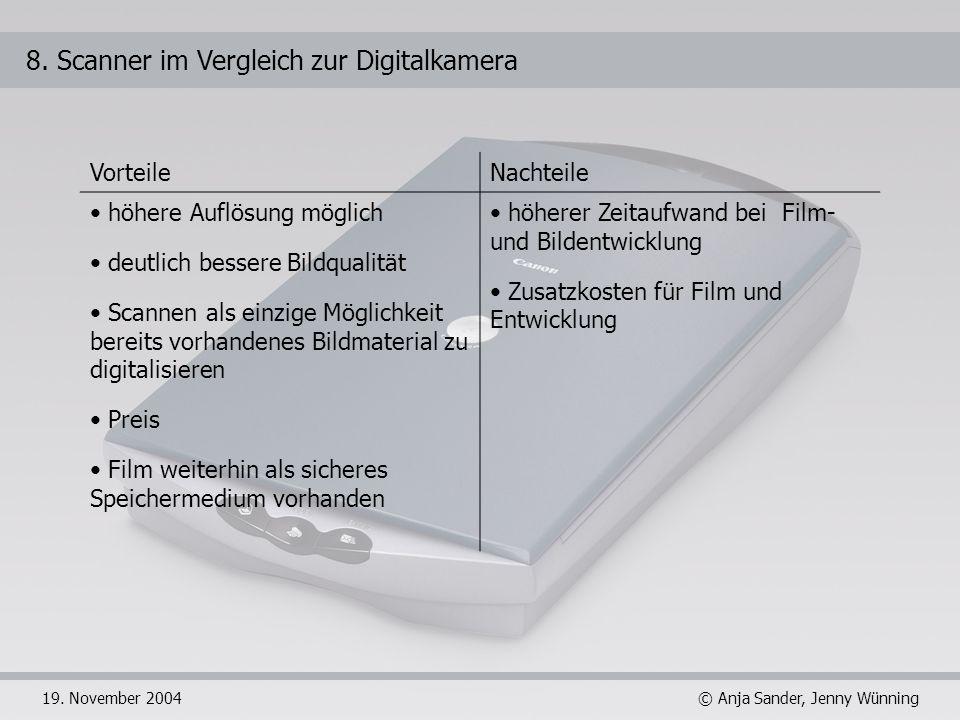 8. Scanner im Vergleich zur Digitalkamera