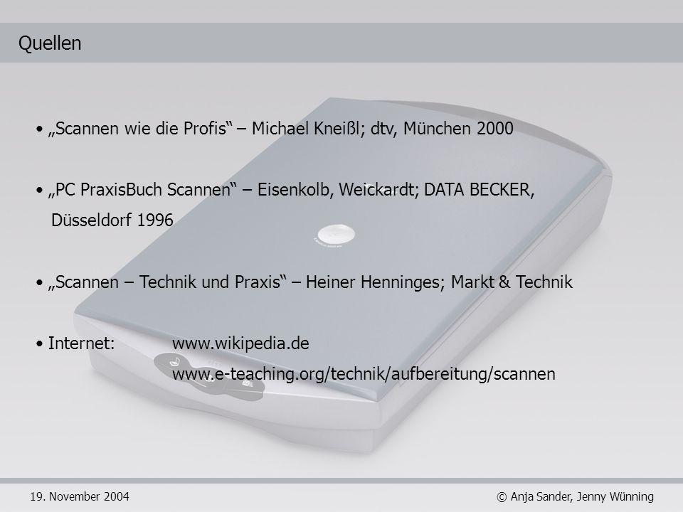 """Quellen """"Scannen wie die Profis – Michael Kneißl; dtv, München 2000"""