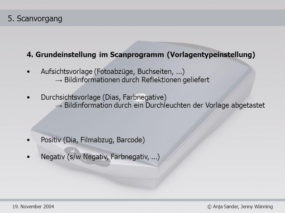 5. Scanvorgang4. Grundeinstellung im Scanprogramm (Vorlagentypeinstellung) Aufsichtsvorlage (Fotoabzüge, Buchseiten, ...)