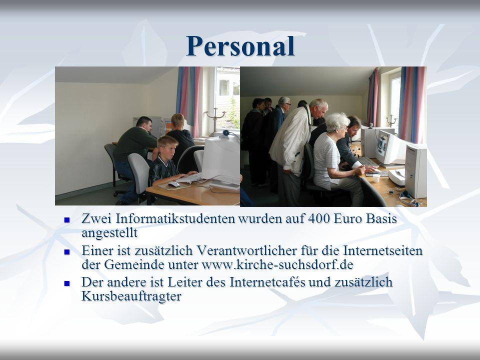 Personal Zwei Informatikstudenten wurden auf 400 Euro Basis angestellt