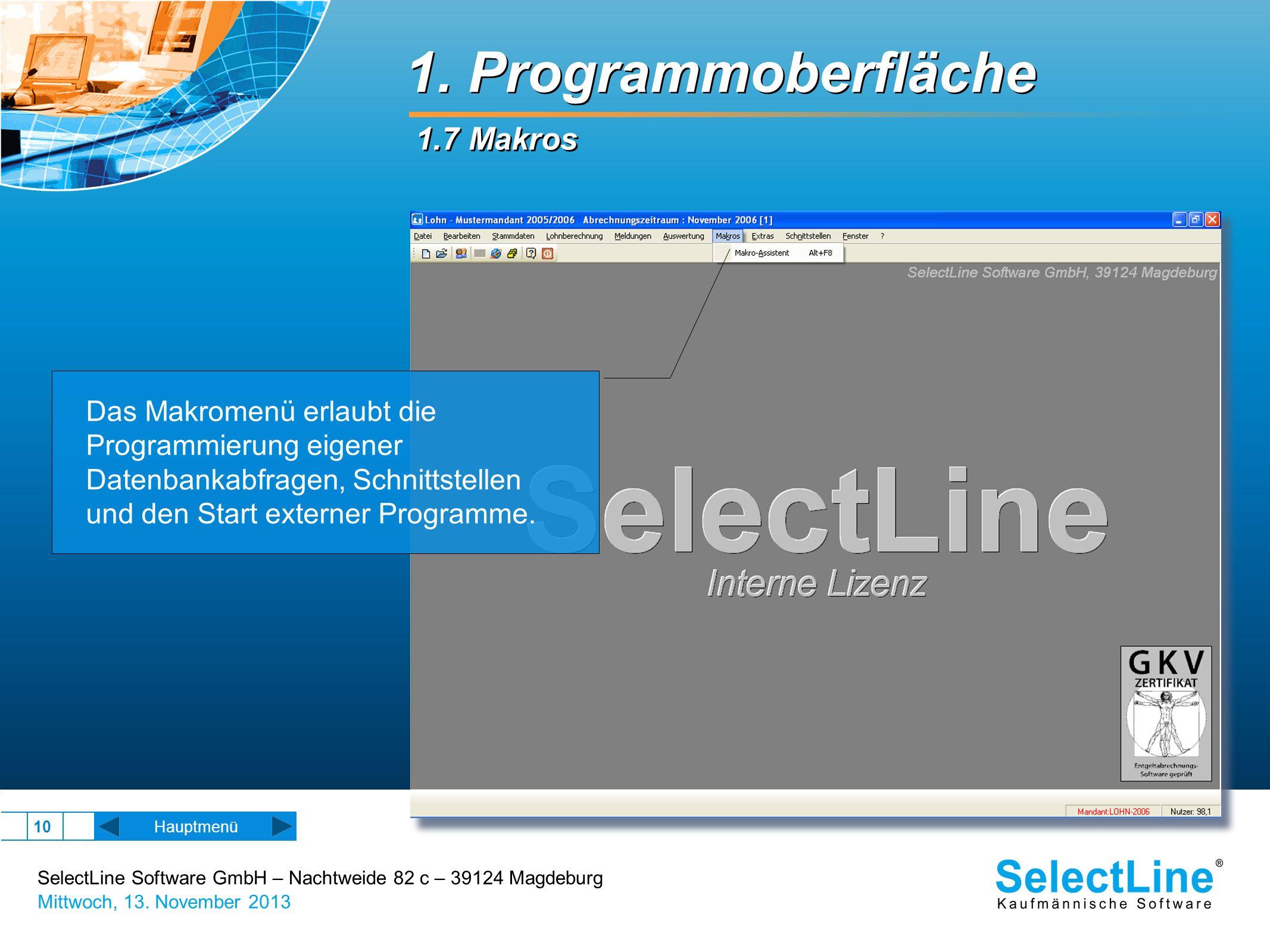 1. Programmoberfläche 1.7 Makros