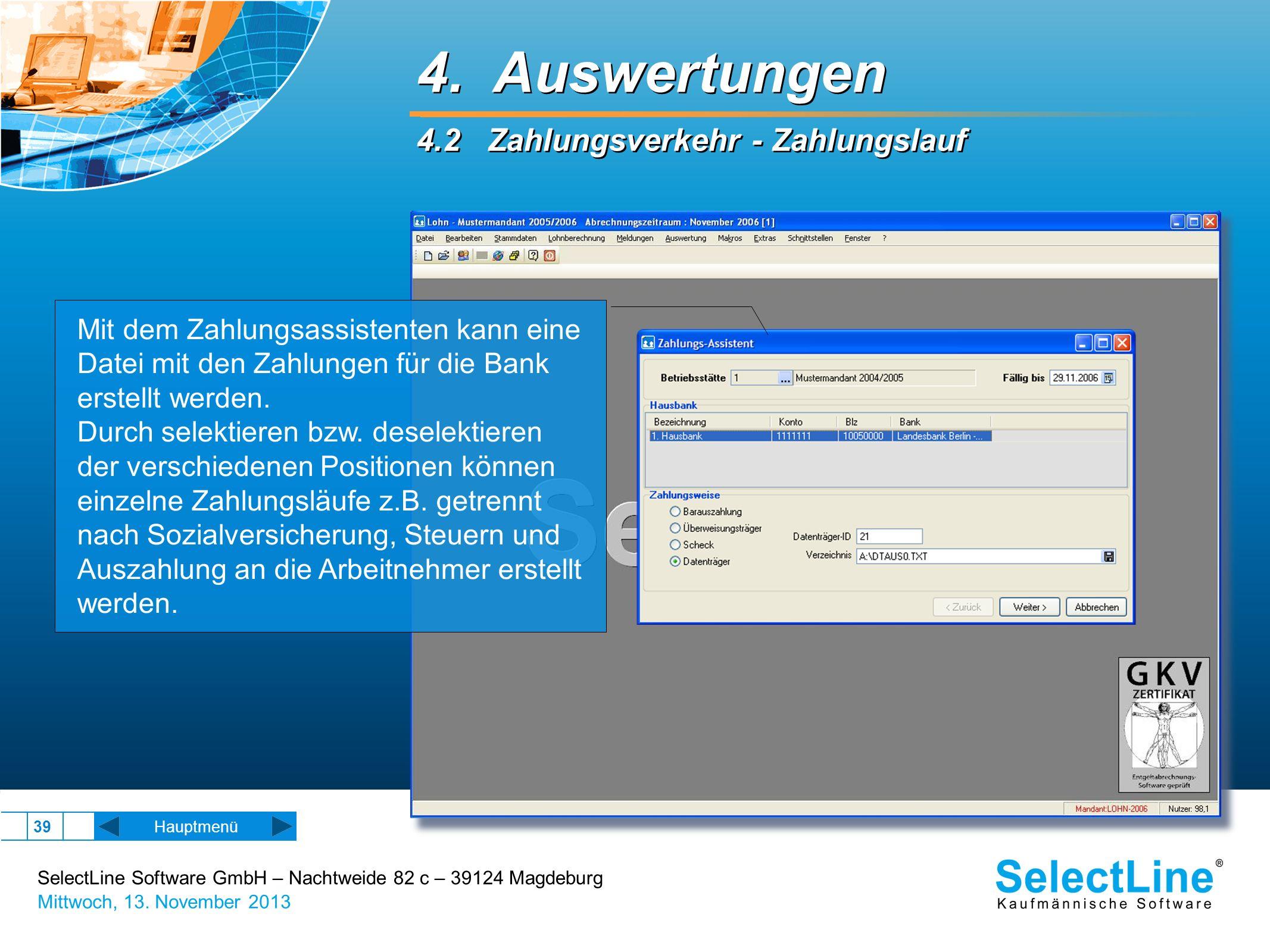 4. Auswertungen 4.2 Zahlungsverkehr - Zahlungslauf