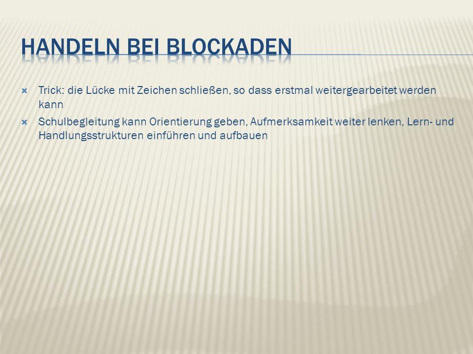 Handeln BEI Blockaden Trick: die Lücke mit Zeichen schließen, so dass erstmal weitergearbeitet werden kann.