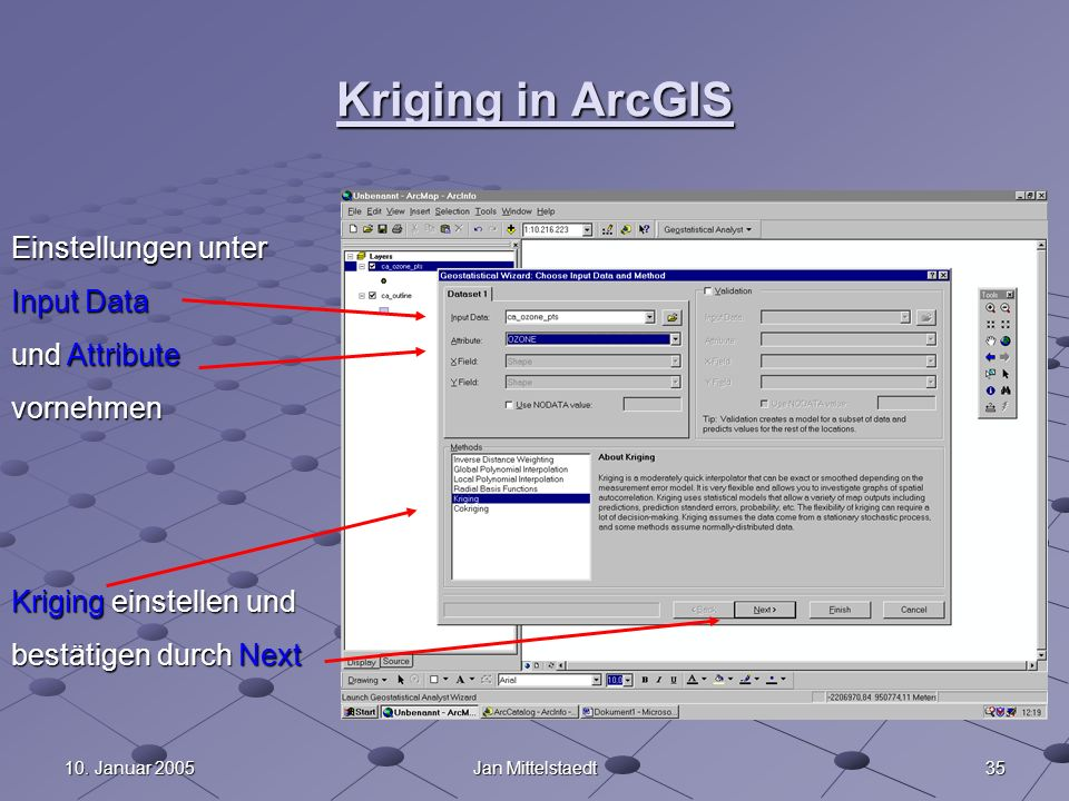 Kriging in ArcGIS Einstellungen unter Input Data und Attribute