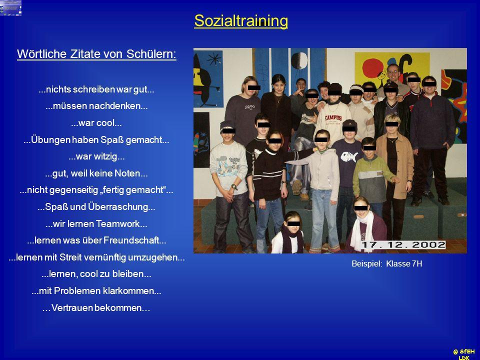 Sozialtraining Wörtliche Zitate von Schülern: