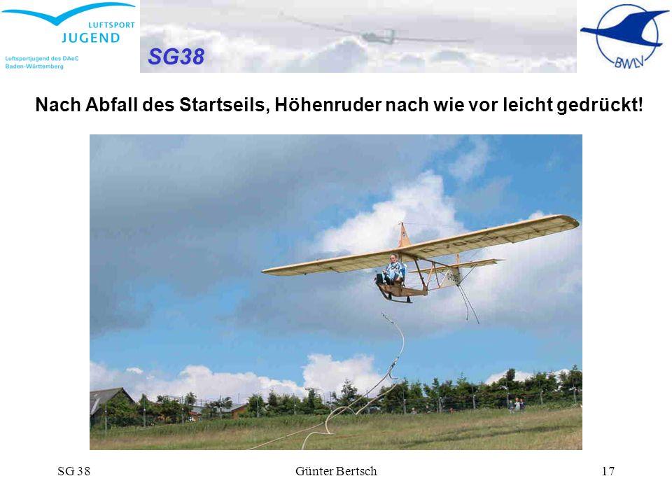 SG38 Nach Abfall des Startseils, Höhenruder nach wie vor leicht gedrückt! SG 38 Günter Bertsch