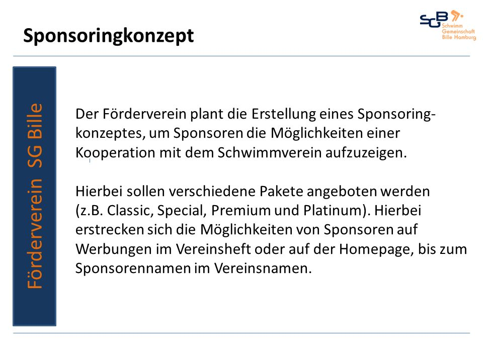 Sponsoringkonzept Förderverein SG Bille