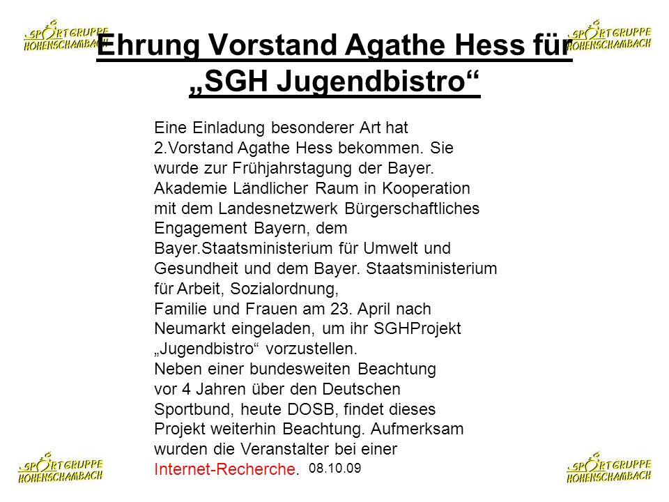 """Ehrung Vorstand Agathe Hess für """"SGH Jugendbistro"""