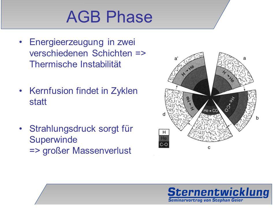AGB Phase Energieerzeugung in zwei verschiedenen Schichten => Thermische Instabilität. Kernfusion findet in Zyklen statt.