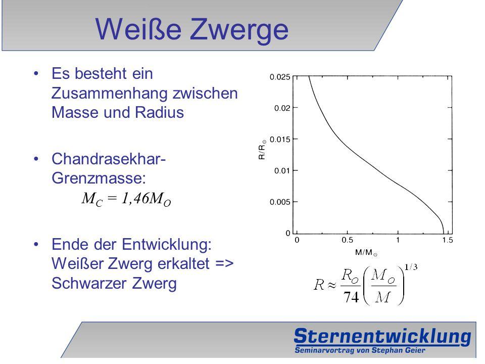 Weiße Zwerge Es besteht ein Zusammenhang zwischen Masse und Radius