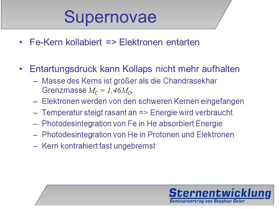 Supernovae Fe-Kern kollabiert => Elektronen entarten