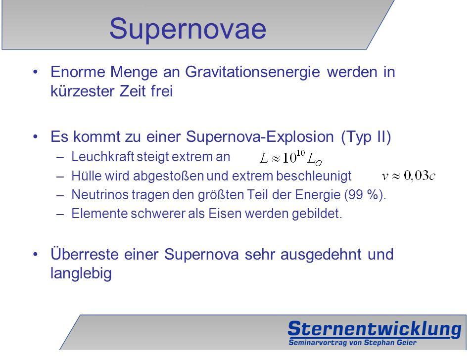 Supernovae Enorme Menge an Gravitationsenergie werden in kürzester Zeit frei. Es kommt zu einer Supernova-Explosion (Typ II)