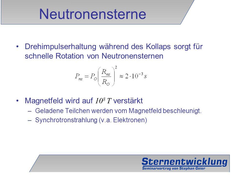 Neutronensterne Drehimpulserhaltung während des Kollaps sorgt für schnelle Rotation von Neutronensternen.