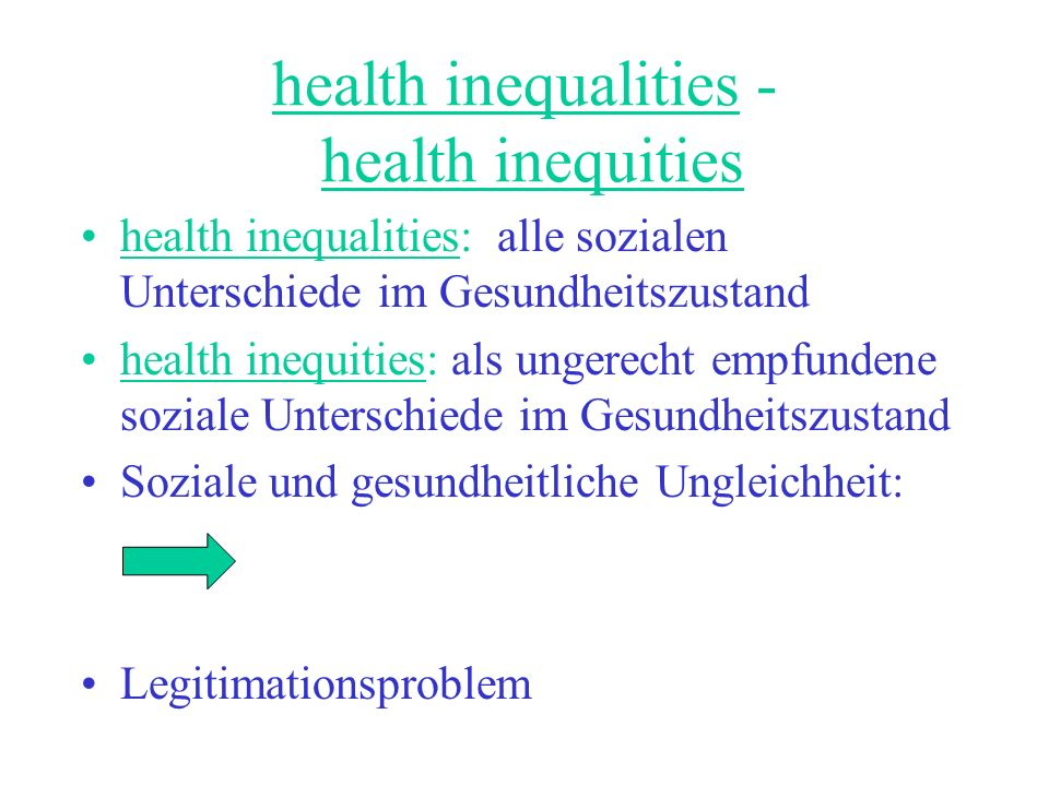 health inequalities - health inequities
