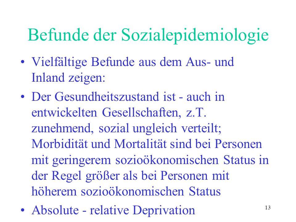 Befunde der Sozialepidemiologie