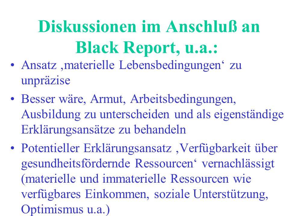 Diskussionen im Anschluß an Black Report, u.a.: