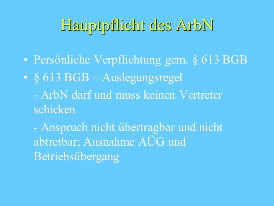 Hauptpflicht des ArbN Persönliche Verpflichtung gem. § 613 BGB