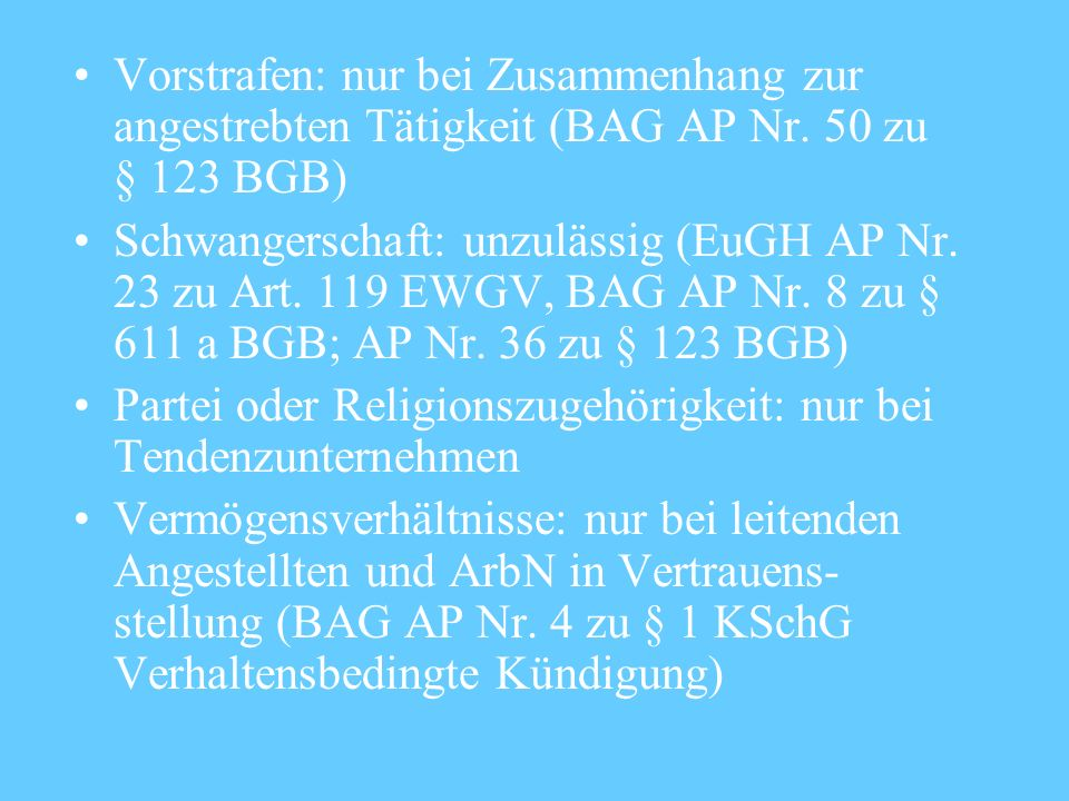 Vorstrafen: nur bei Zusammenhang zur angestrebten Tätigkeit (BAG AP Nr