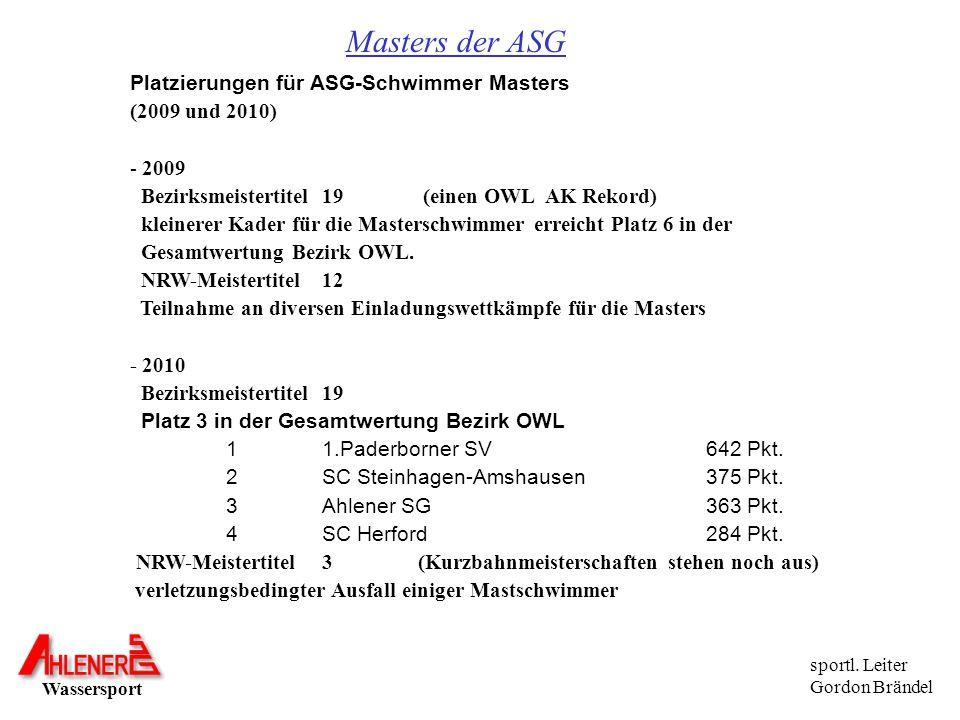 Masters der ASG Platzierungen für ASG-Schwimmer Masters