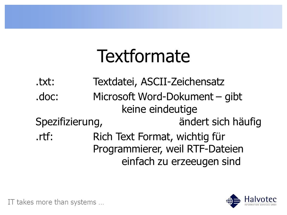 Textformate .txt: Textdatei, ASCII-Zeichensatz