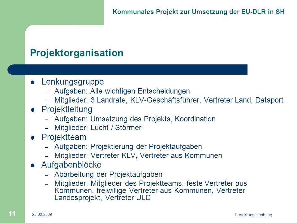 Projektorganisation Lenkungsgruppe Projektleitung Projektteam