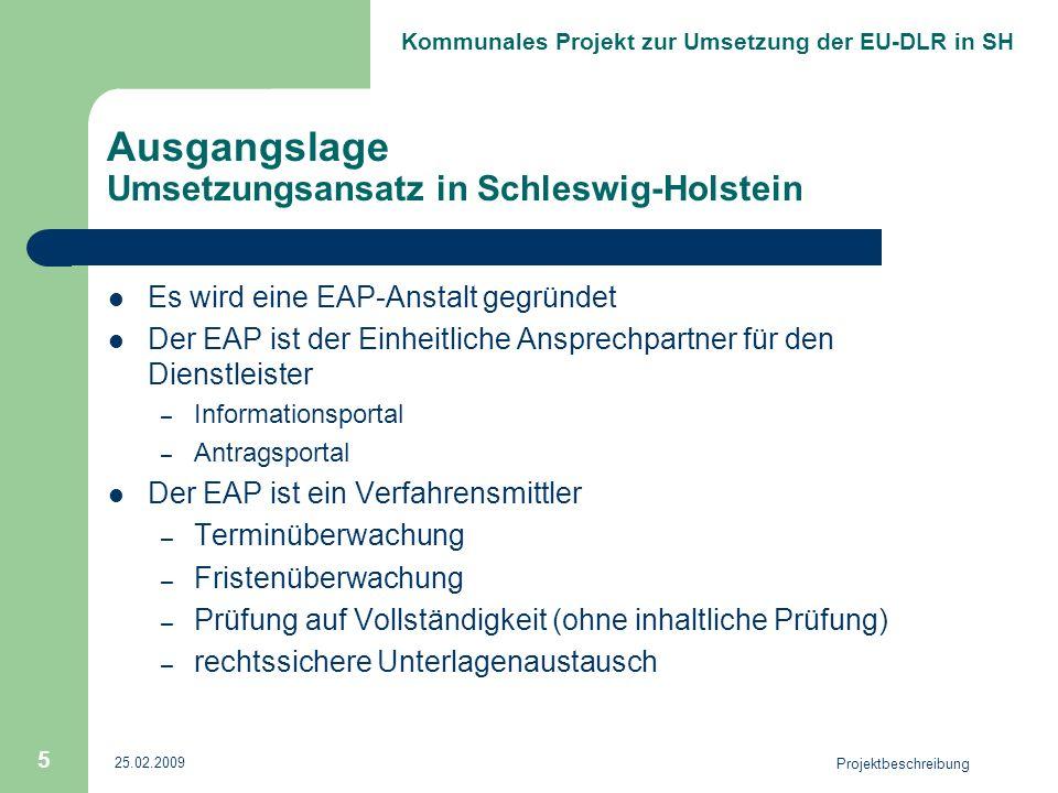 Ausgangslage Umsetzungsansatz in Schleswig-Holstein