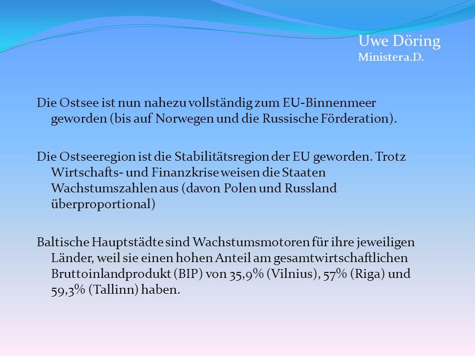 Uwe Döring Minister a.D. Die Ostsee ist nun nahezu vollständig zum EU-Binnenmeer geworden (bis auf Norwegen und die Russische Förderation).