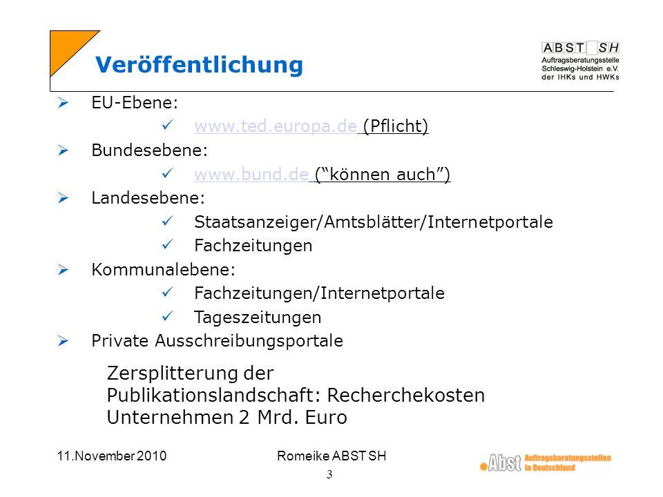 Veröffentlichung EU-Ebene: www.ted.europa.de (Pflicht) Bundesebene: www.bund.de ( können auch ) Landesebene: