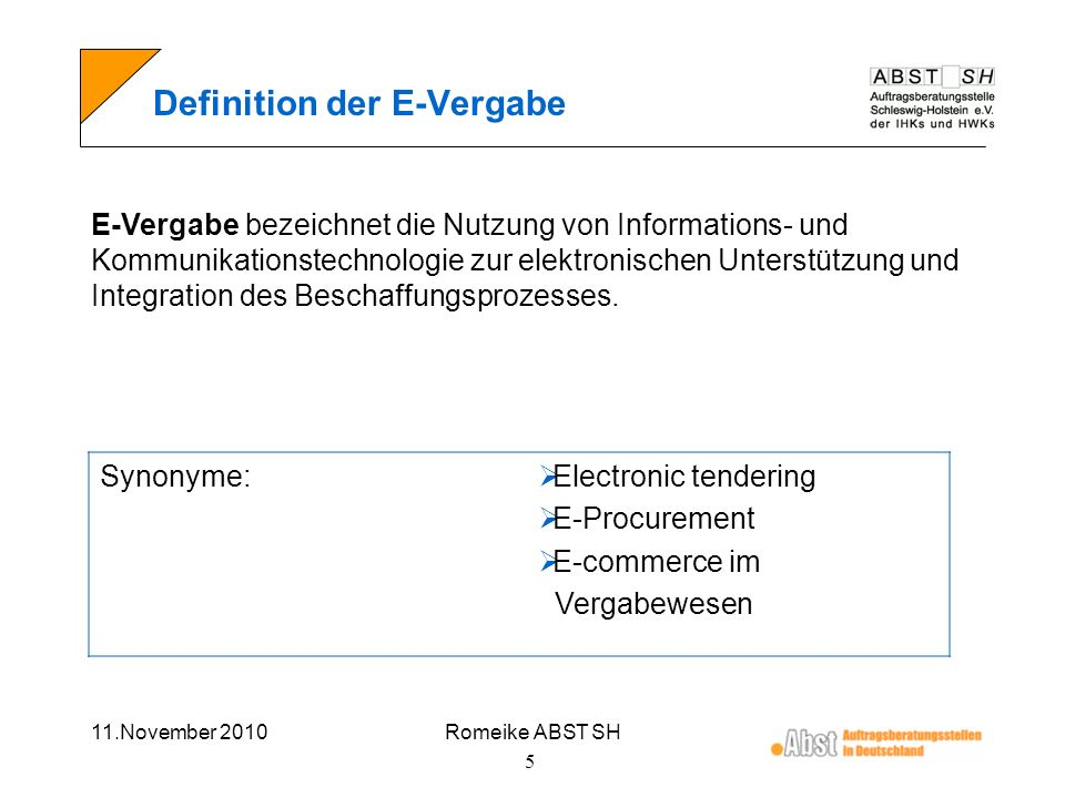 Definition der E-Vergabe
