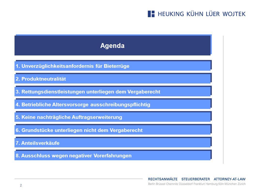 Agenda 1. Unverzüglichkeitsanfordernis für Bieterrüge