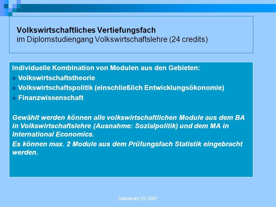 Volkswirtschaftliches Vertiefungsfach im Diplomstudiengang Volkswirtschaftslehre (24 credits)