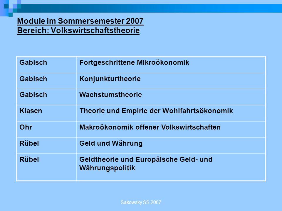 Module im Sommersemester 2007 Bereich: Volkswirtschaftstheorie