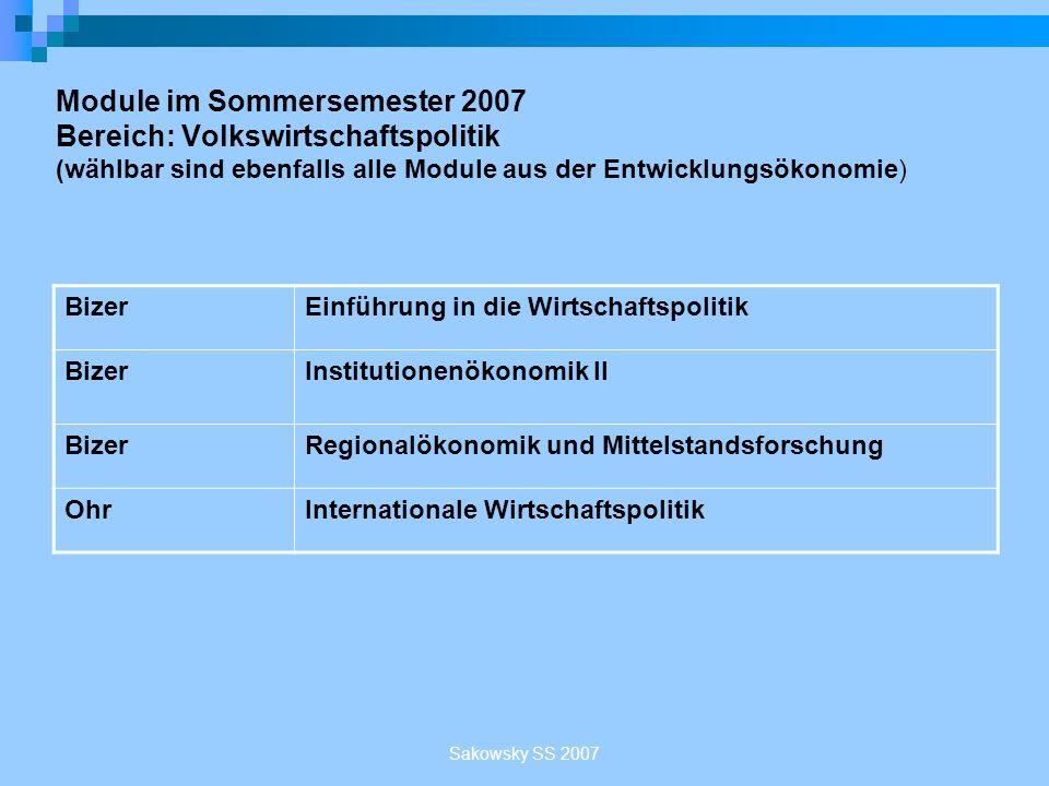 Module im Sommersemester 2007 Bereich: Volkswirtschaftspolitik (wählbar sind ebenfalls alle Module aus der Entwicklungsökonomie)