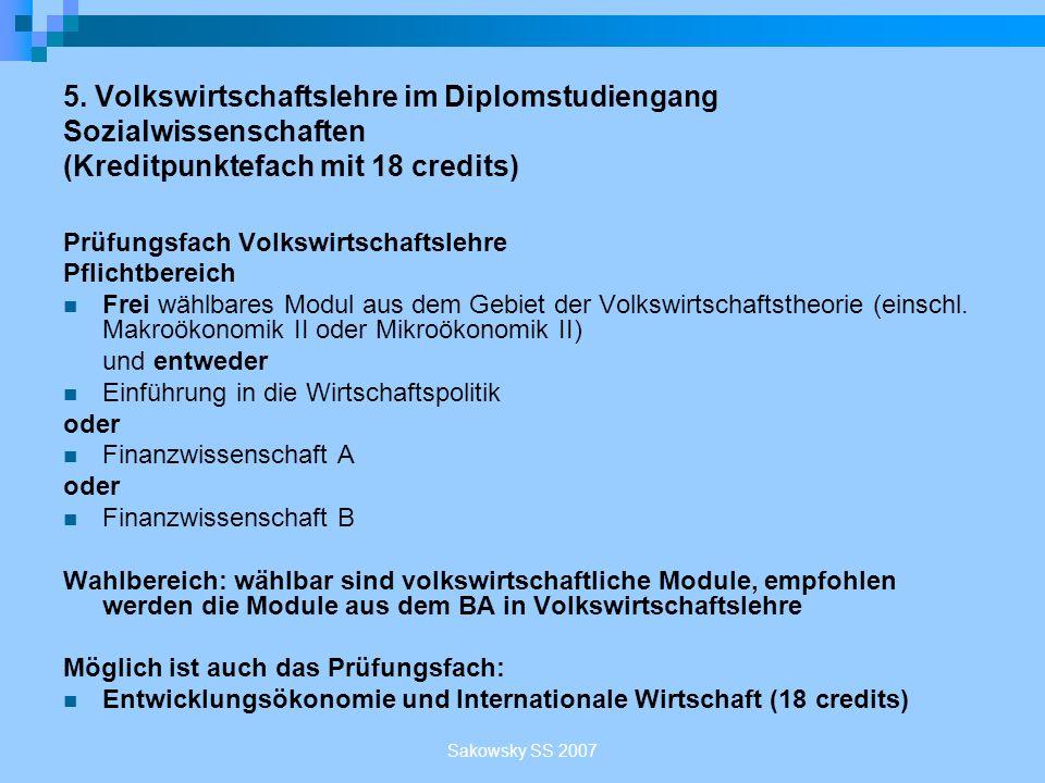 5. Volkswirtschaftslehre im Diplomstudiengang Sozialwissenschaften (Kreditpunktefach mit 18 credits)