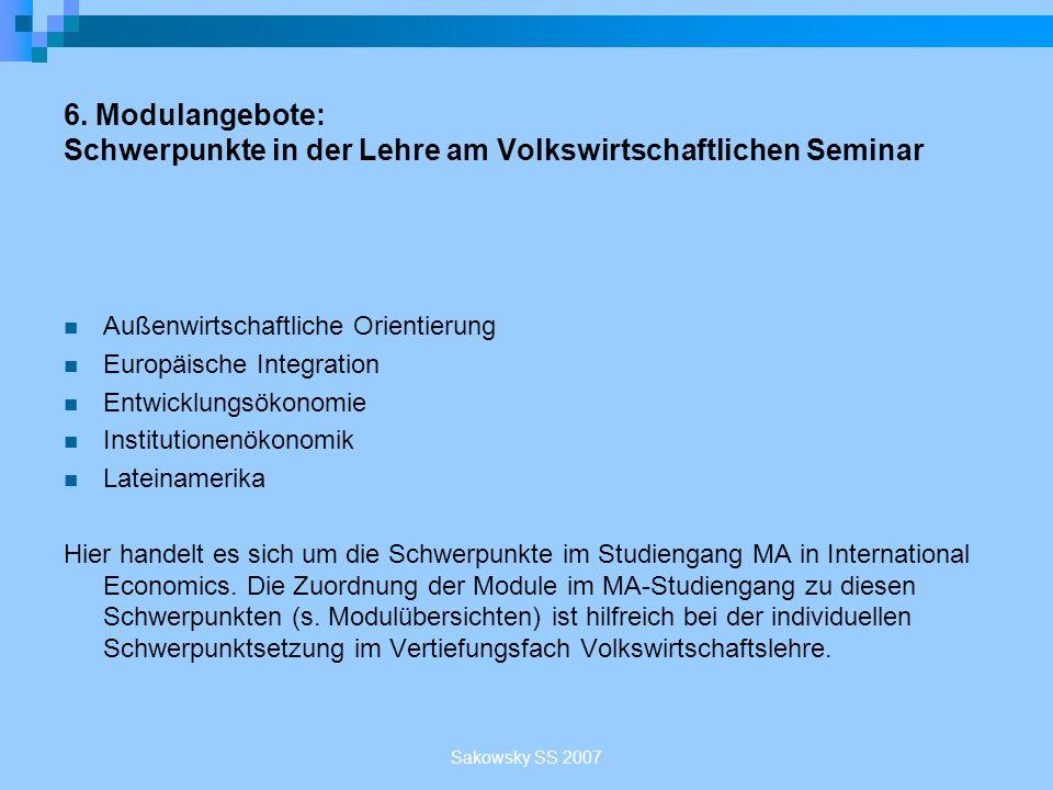 6. Modulangebote: Schwerpunkte in der Lehre am Volkswirtschaftlichen Seminar