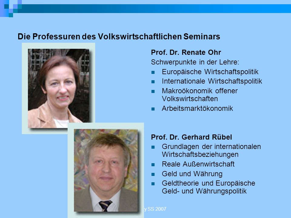 Die Professuren des Volkswirtschaftlichen Seminars