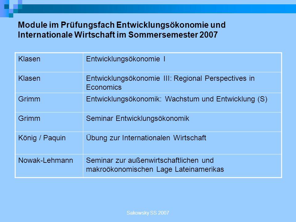 Module im Prüfungsfach Entwicklungsökonomie und Internationale Wirtschaft im Sommersemester 2007