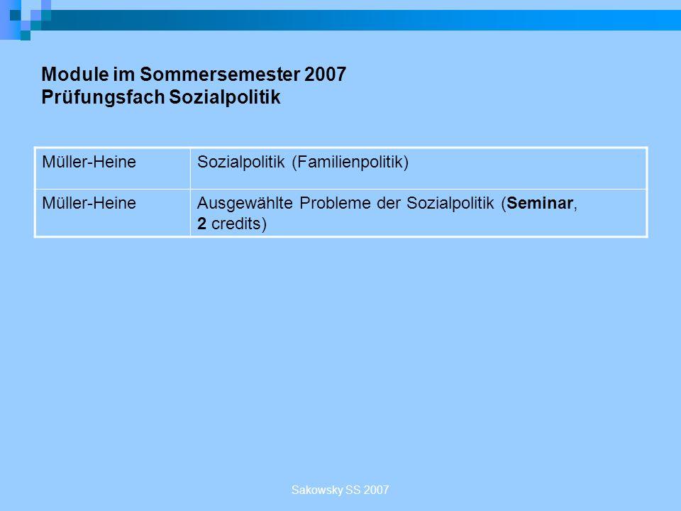 Module im Sommersemester 2007 Prüfungsfach Sozialpolitik