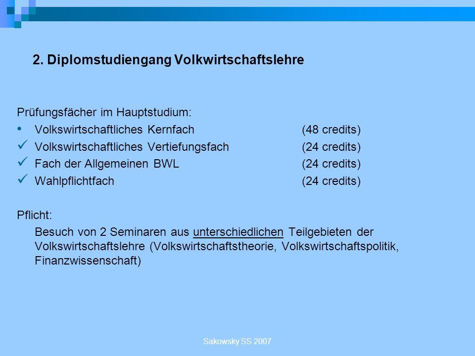 2. Diplomstudiengang Volkwirtschaftslehre